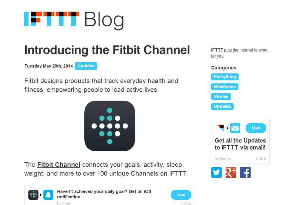 La chaîne Fitbit sur IFTTT