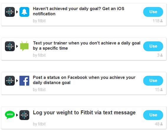 Exemples d'utilisation du Fitbit sur IFTTT