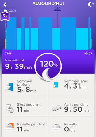 Jawbone UP24 : Sommeil