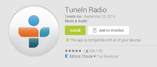 TuneIn Android Wear
