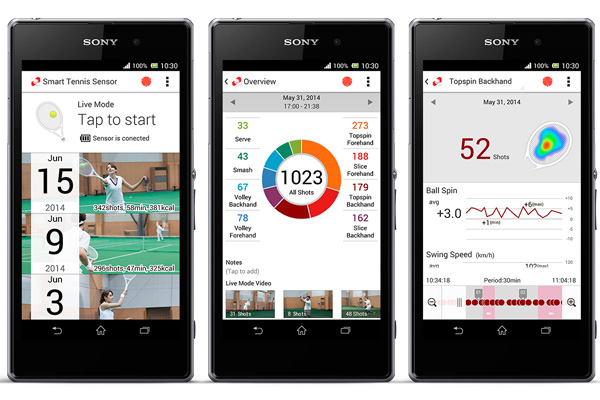 Sony Smart Tennis Sensor : application mobile