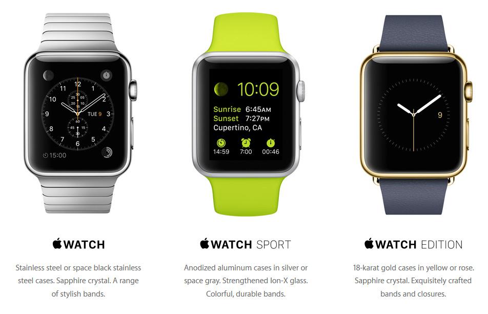 Apple Watch : 3 modèles