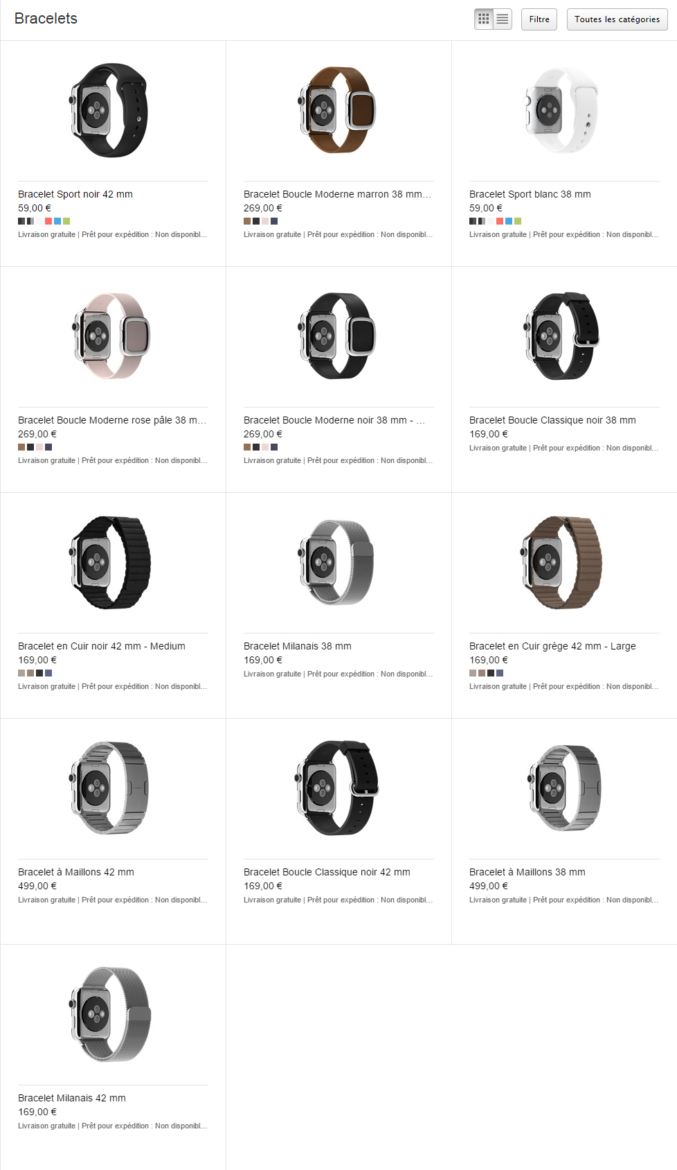 Prix des bracelets de l'Apple Watch