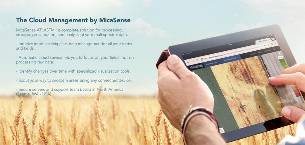 Le logiciel MicaSense sur une tablette