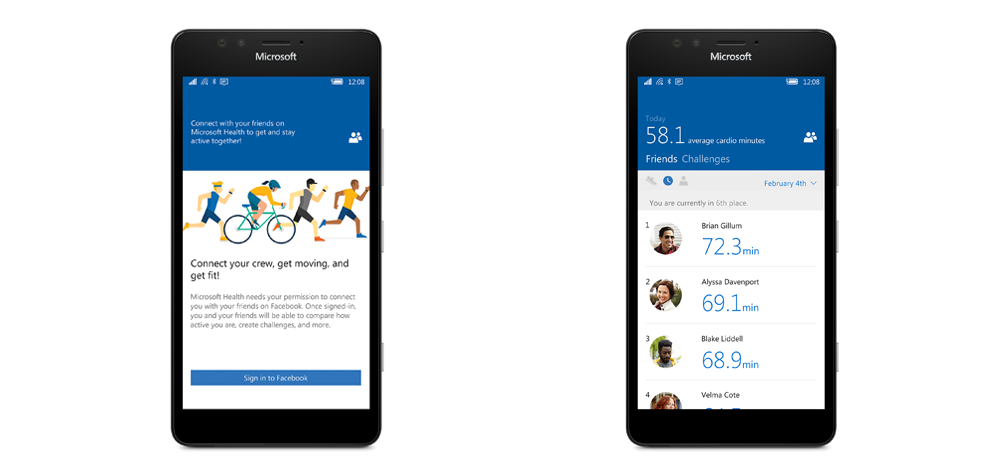 L'app Health du Microsoft Band