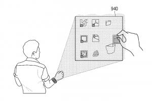 Une image du brevet de la montre connectée / projecteur de Samsung