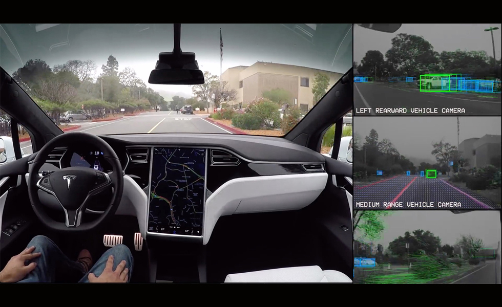 que voit une voiture autonome tesla vous le montre dans cette d mo. Black Bedroom Furniture Sets. Home Design Ideas