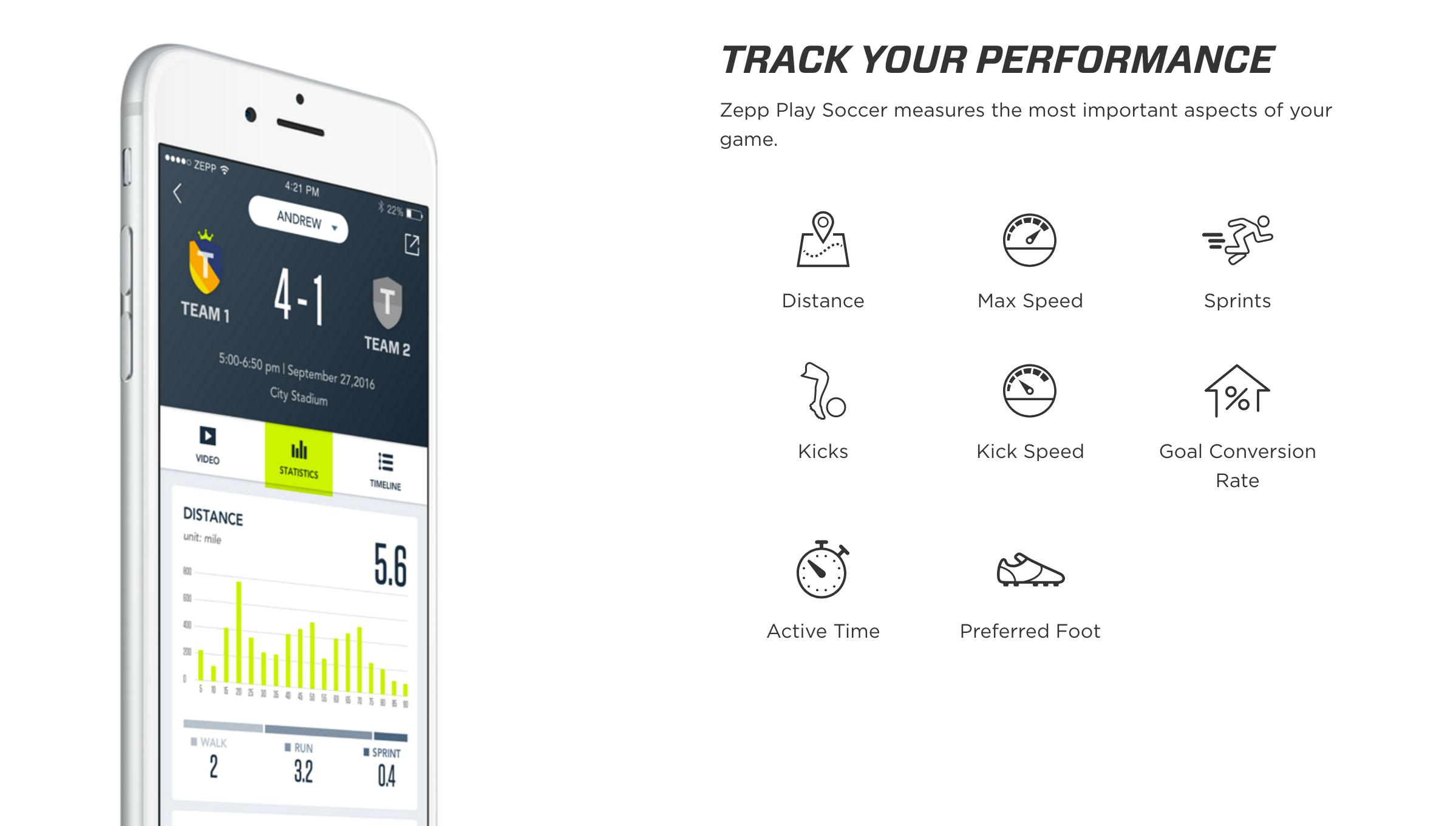 Les données captées par le Zepp Football