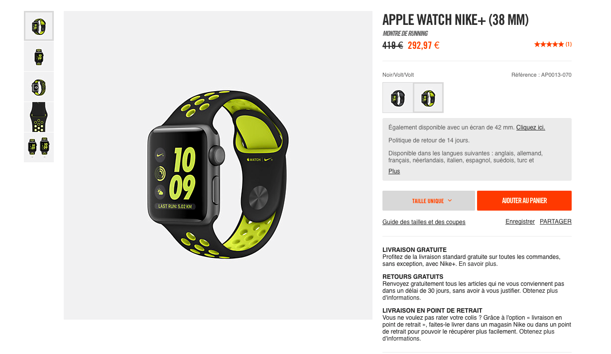 Bon Plan Apple Watch nike
