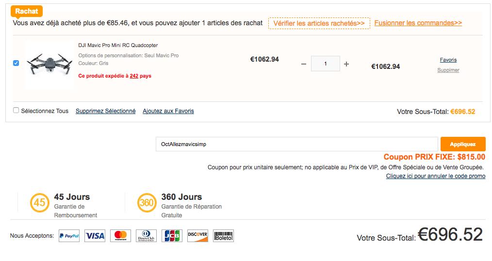 Le Mavic Pro à 696€ pour Black Friday chez Gearbest