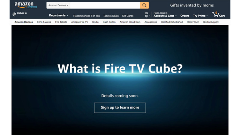 page web Fire TV Cube