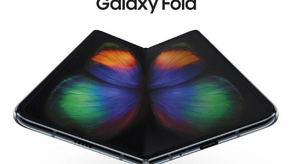 Le Samsung Galaxy Fold sur fond blanc